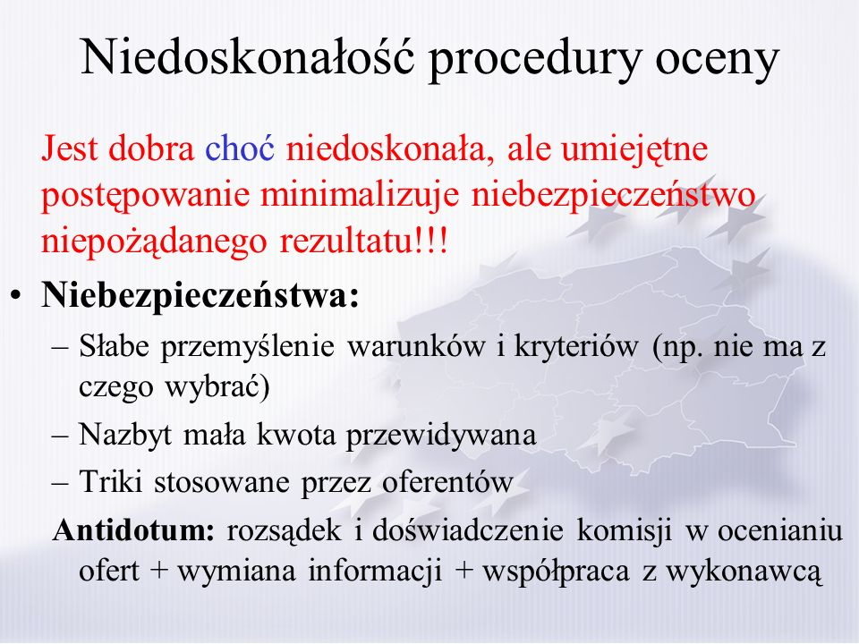 Niedoskonałość procedury oceny