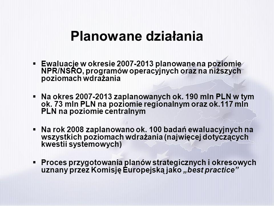 Planowane działania Ewaluacje w okresie 2007-2013 planowane na poziomie NPR/NSRO, programów operacyjnych oraz na niższych poziomach wdrażania.