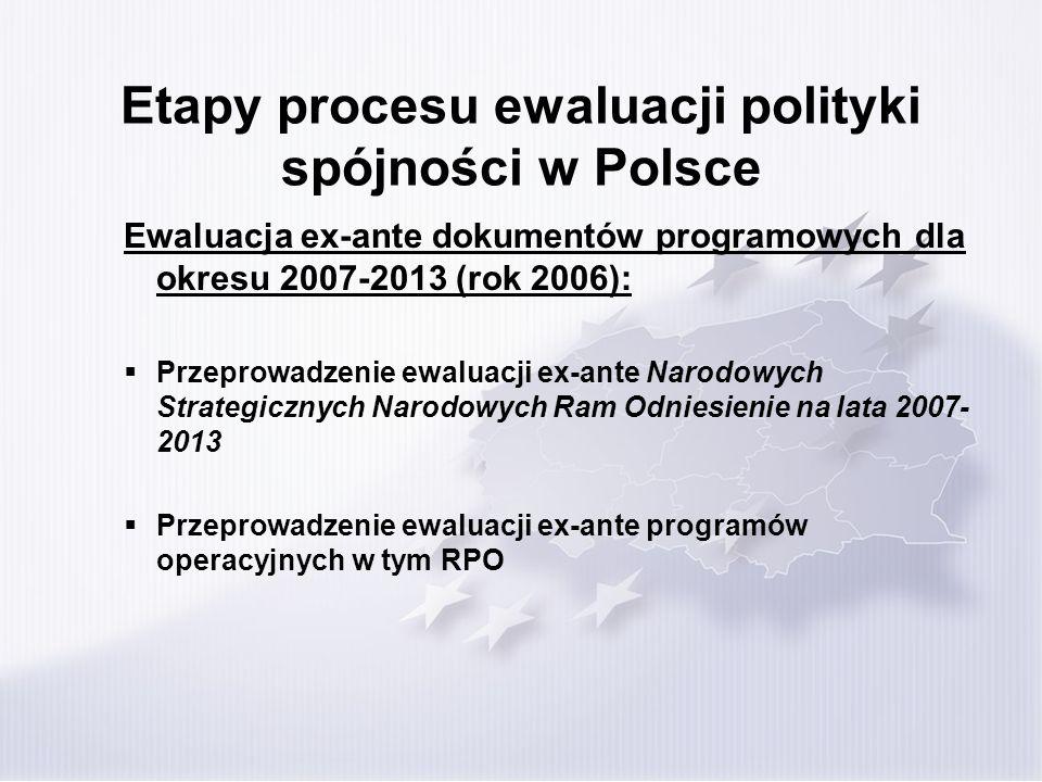Etapy procesu ewaluacji polityki spójności w Polsce