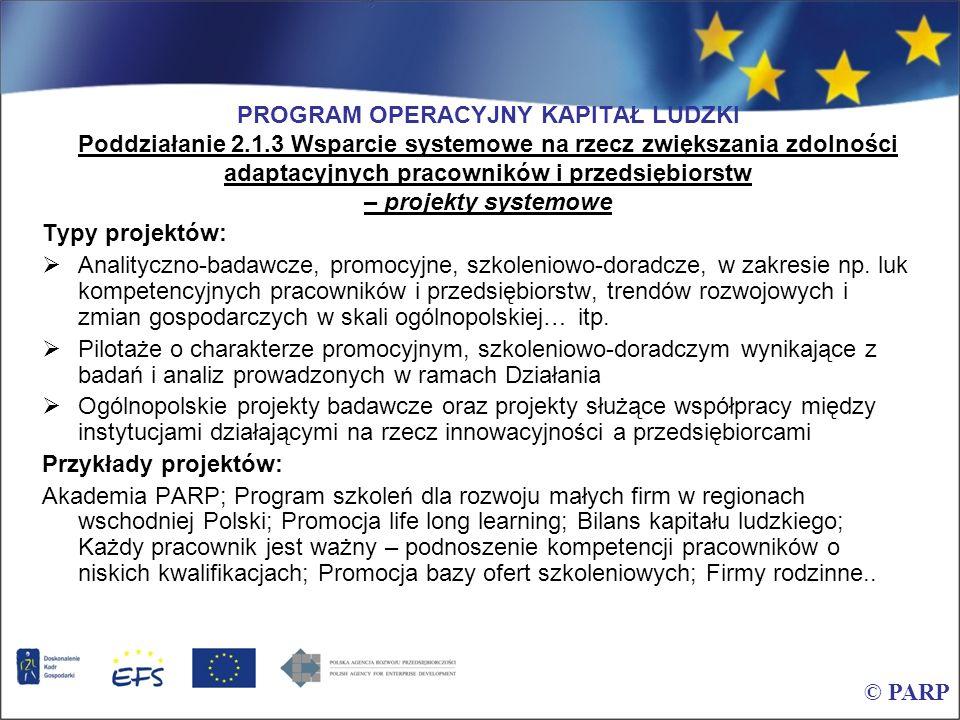 PROGRAM OPERACYJNY KAPITAŁ LUDZKI Poddziałanie 2. 1