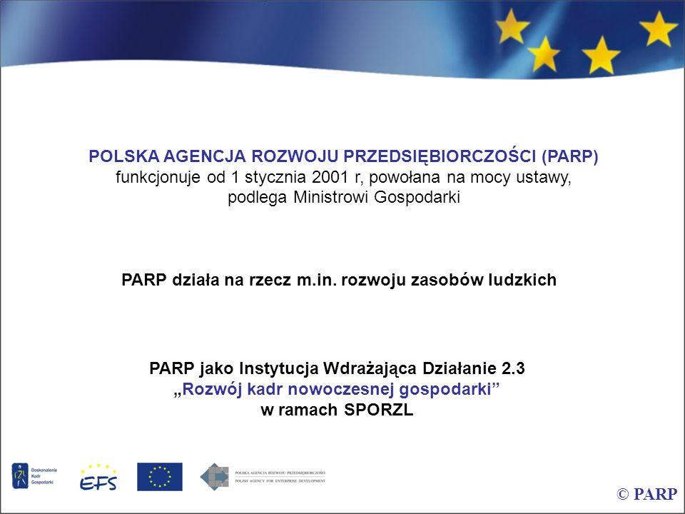 POLSKA AGENCJA ROZWOJU PRZEDSIĘBIORCZOŚCI (PARP) funkcjonuje od 1 stycznia 2001 r, powołana na mocy ustawy, podlega Ministrowi Gospodarki