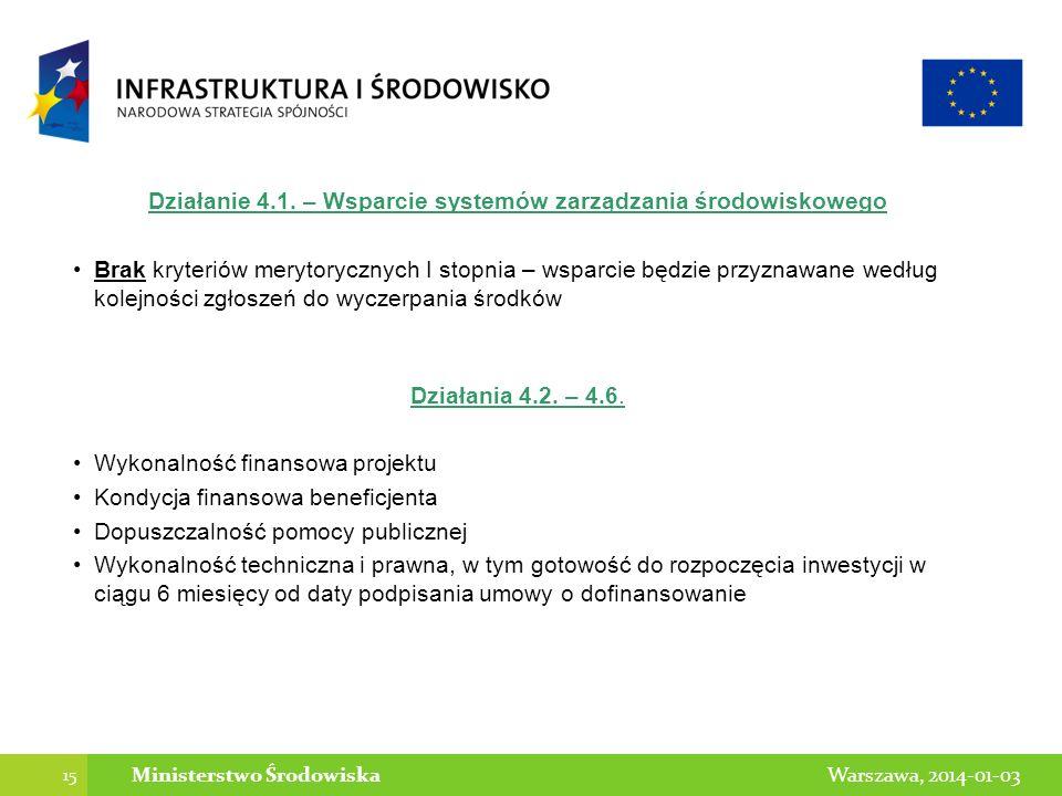 Działanie 4.1. – Wsparcie systemów zarządzania środowiskowego