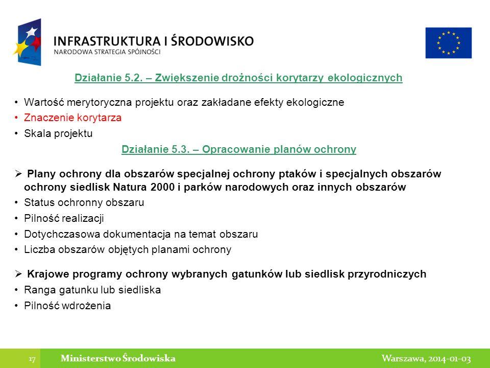 Działanie 5.2. – Zwiększenie drożności korytarzy ekologicznych