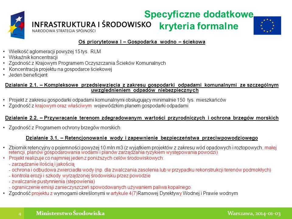Specyficzne dodatkowe kryteria formalne