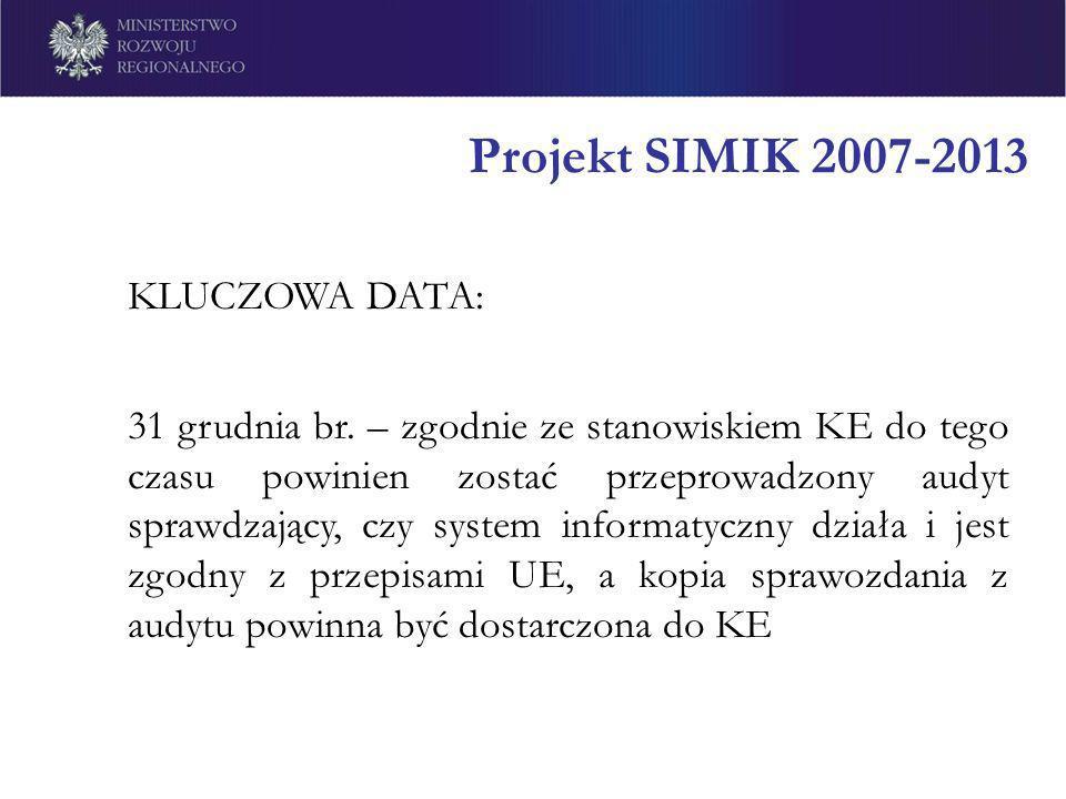 Projekt SIMIK 2007-2013 KLUCZOWA DATA: