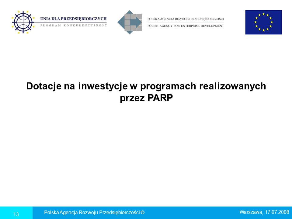 Dotacje na inwestycje w programach realizowanych przez PARP