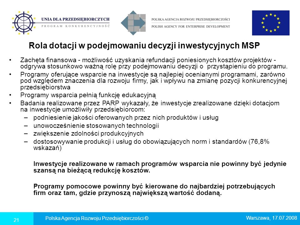 Rola dotacji w podejmowaniu decyzji inwestycyjnych MSP