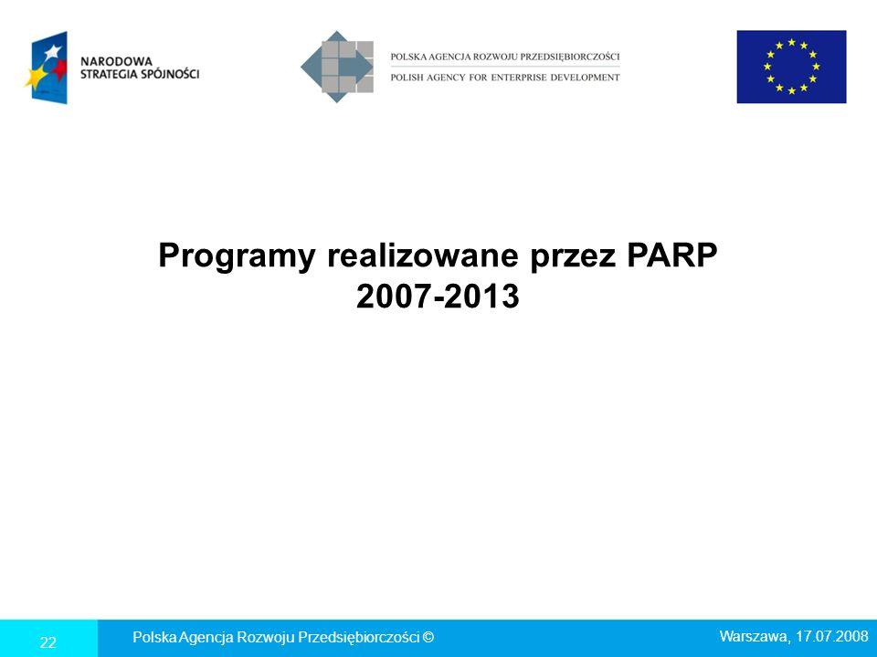 Programy realizowane przez PARP 2007-2013