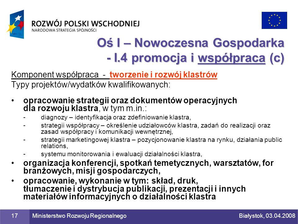 Oś I – Nowoczesna Gospodarka - I.4 promocja i współpraca (c)
