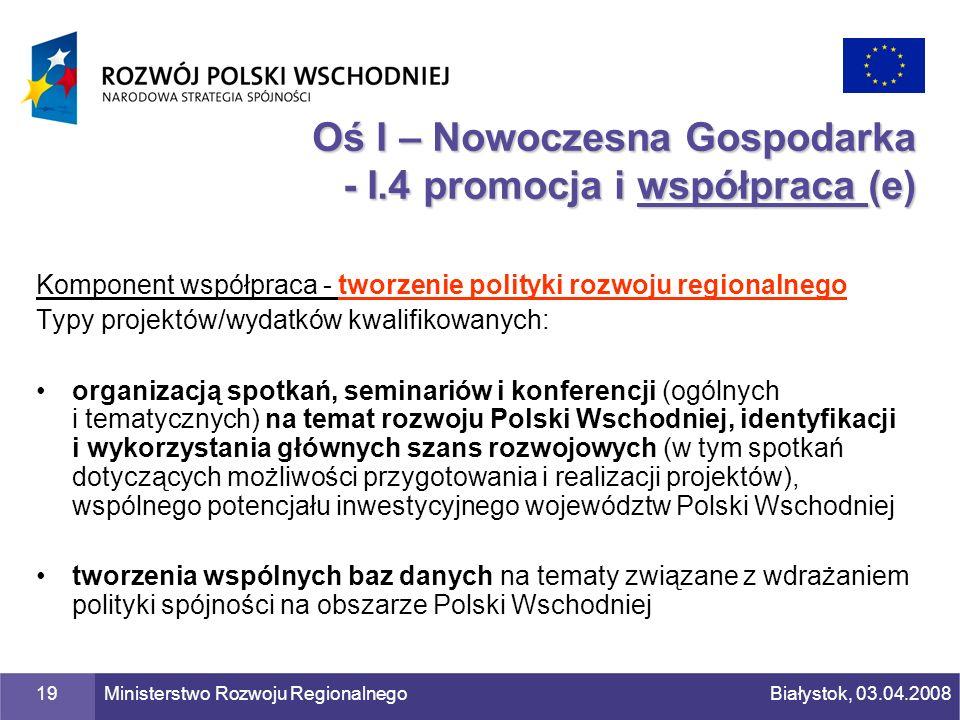 Oś I – Nowoczesna Gospodarka - I.4 promocja i współpraca (e)