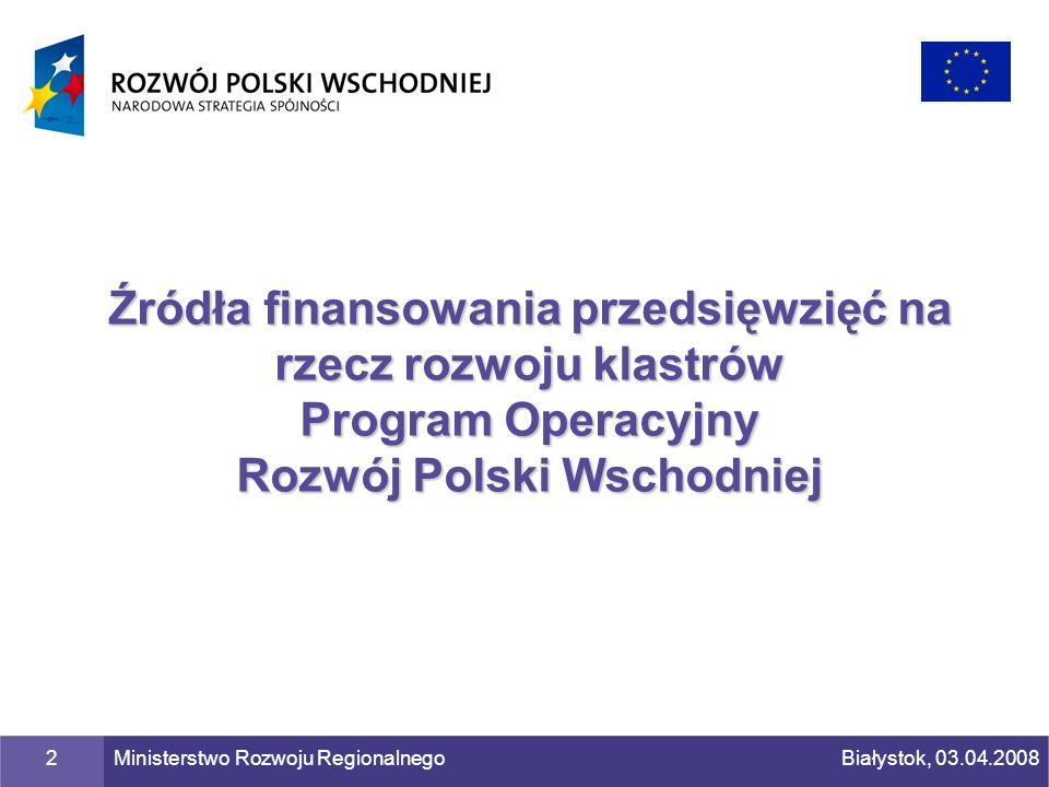 Źródła finansowania przedsięwzięć na rzecz rozwoju klastrów Program Operacyjny Rozwój Polski Wschodniej