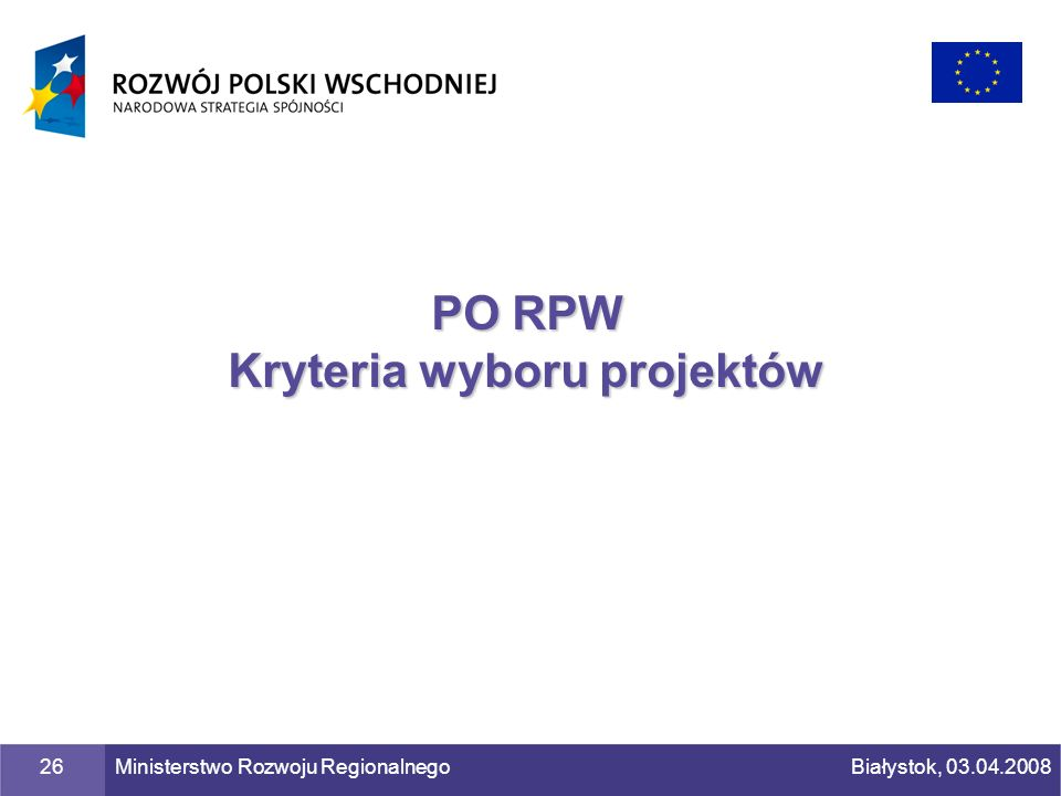 PO RPW Kryteria wyboru projektów