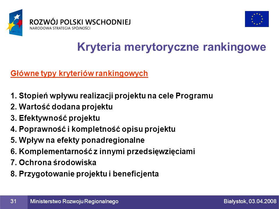 Kryteria merytoryczne rankingowe