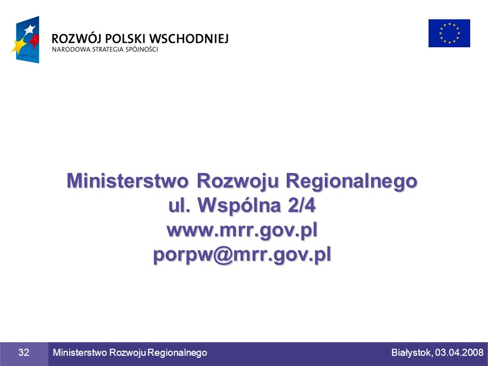 Ministerstwo Rozwoju Regionalnego ul. Wspólna 2/4 www. mrr. gov