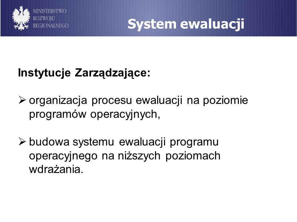 System ewaluacji Instytucje Zarządzające: