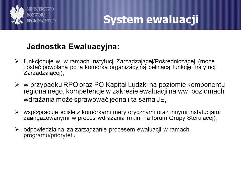 System ewaluacji Jednostka Ewaluacyjna: