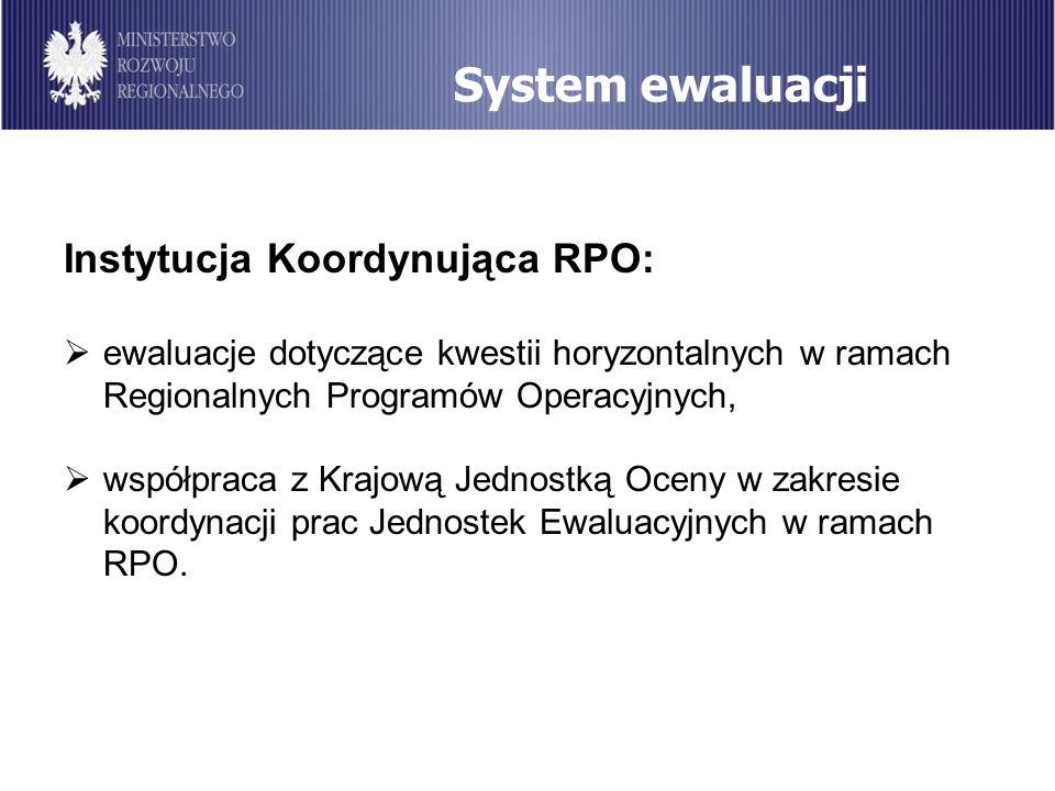 System ewaluacji Instytucja Koordynująca RPO: