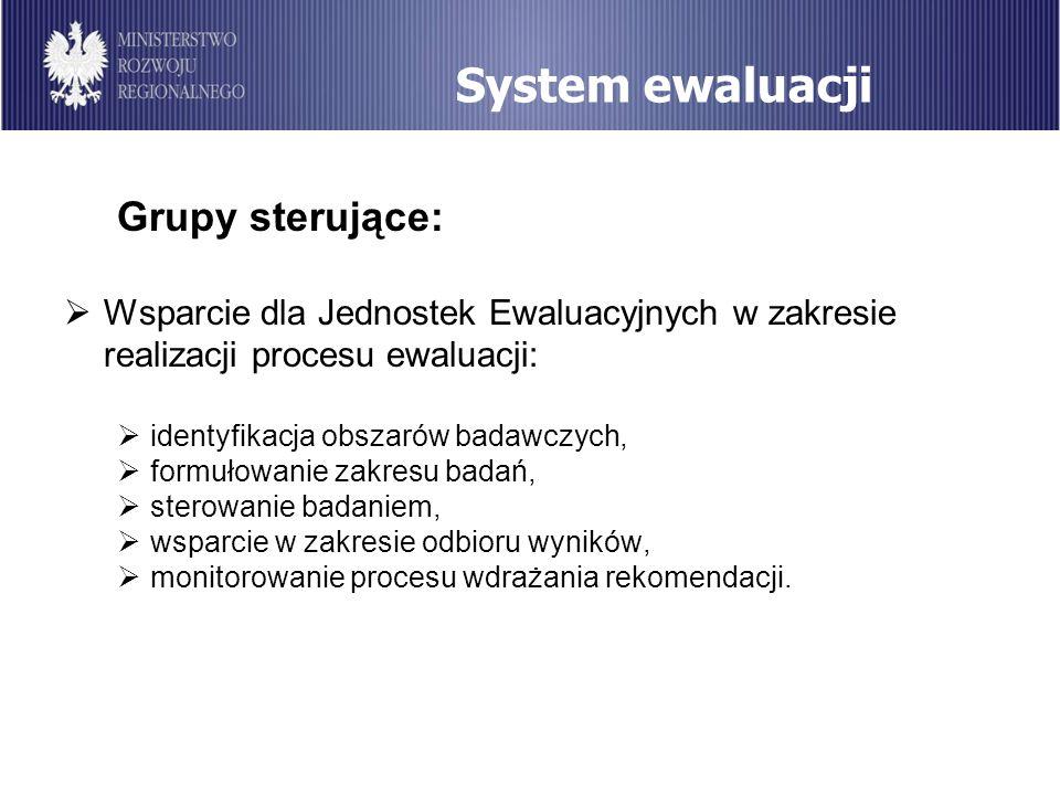 System ewaluacji Grupy sterujące: