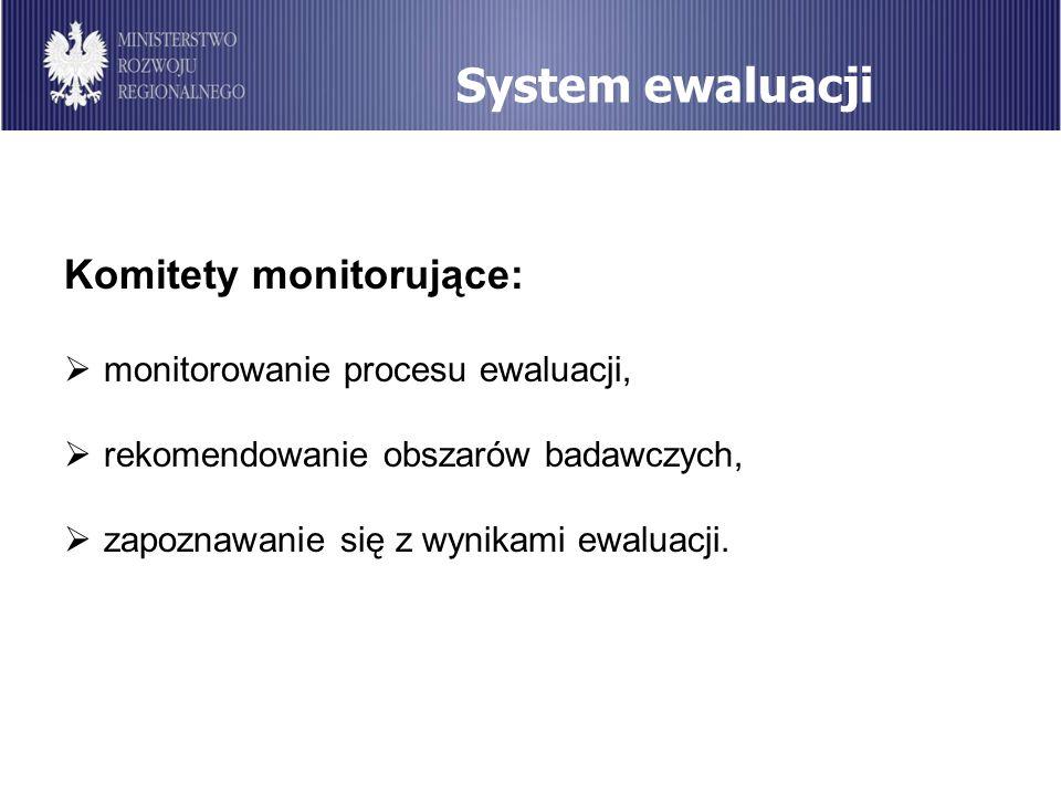System ewaluacji Komitety monitorujące: