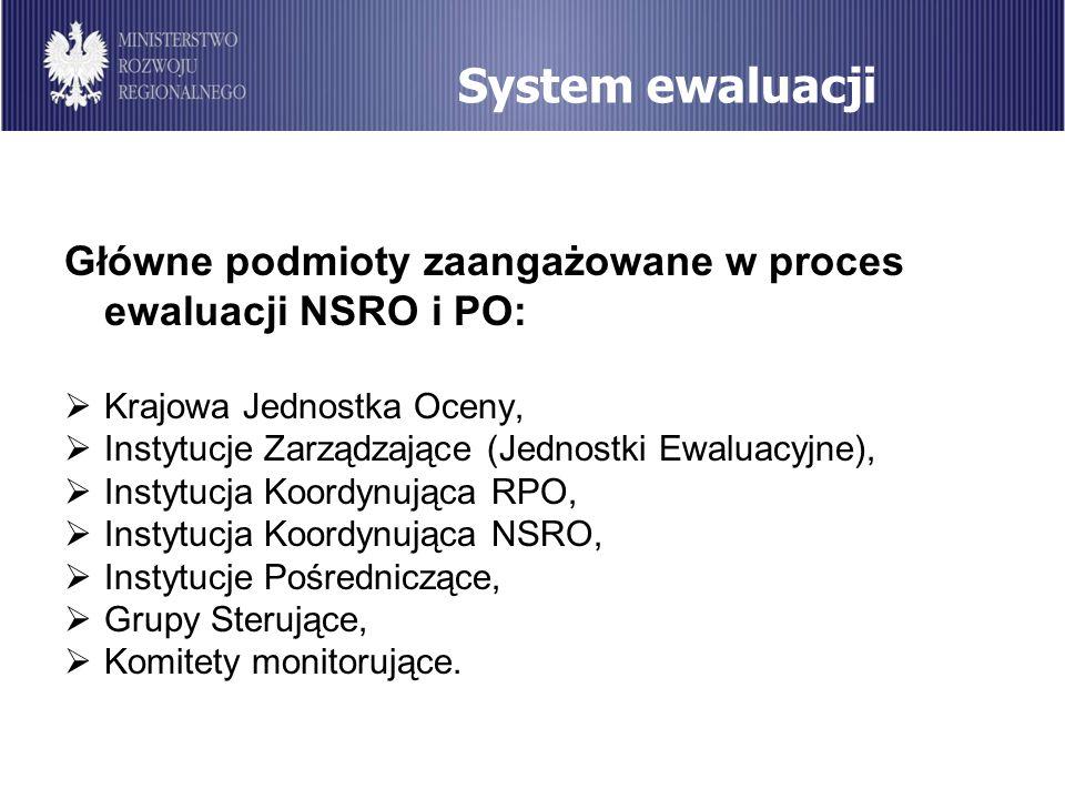 System ewaluacjiGłówne podmioty zaangażowane w proces ewaluacji NSRO i PO: Krajowa Jednostka Oceny,