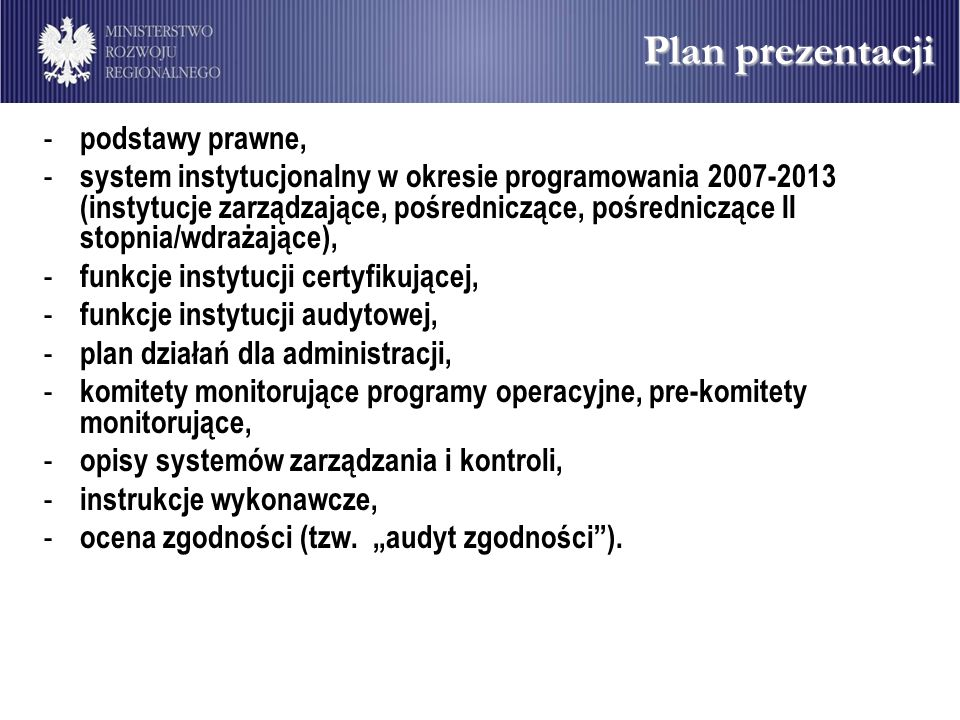 Plan prezentacji podstawy prawne,