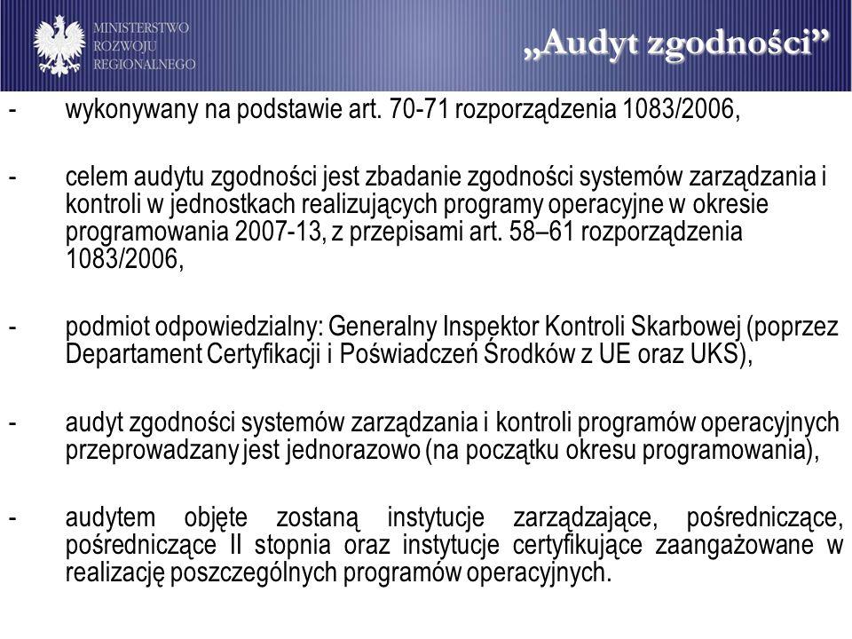 """""""Audyt zgodności wykonywany na podstawie art. 70-71 rozporządzenia 1083/2006,"""