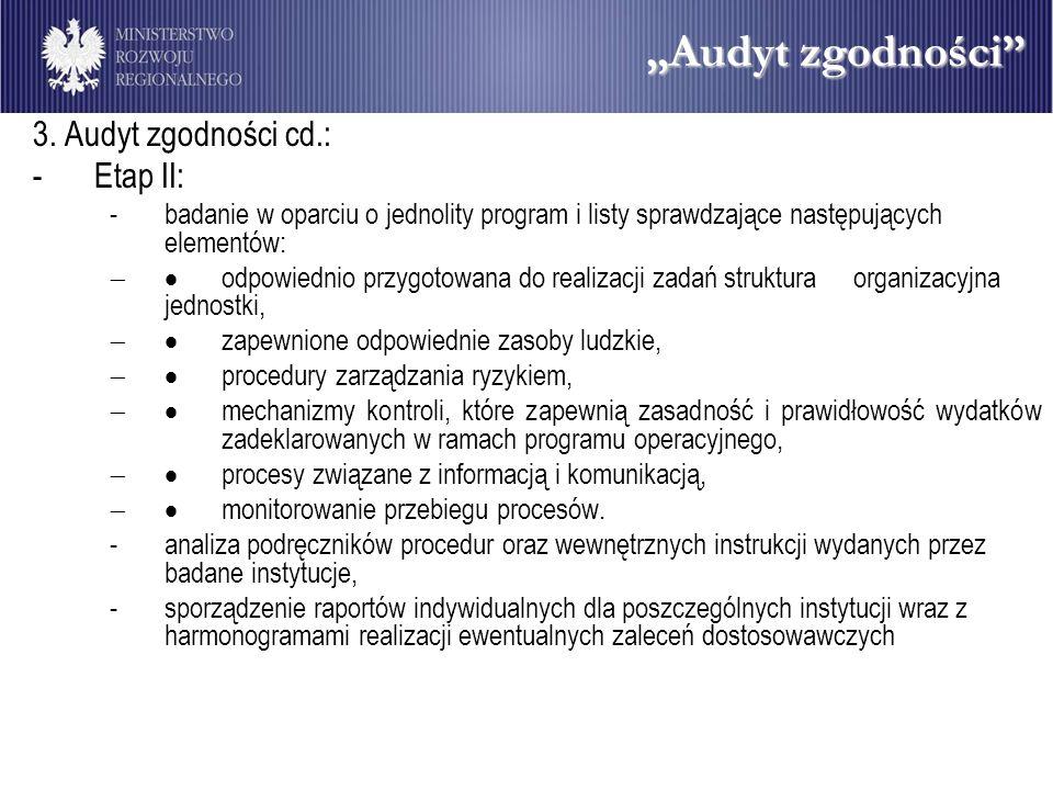 """""""Audyt zgodności 3. Audyt zgodności cd.: Etap II:"""