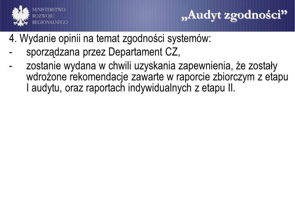 """""""Audyt zgodności 4. Wydanie opinii na temat zgodności systemów:"""
