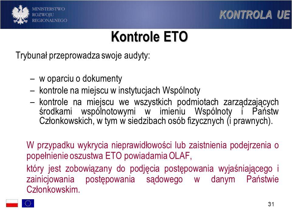 Kontrole ETO KONTROLA UE Trybunał przeprowadza swoje audyty: