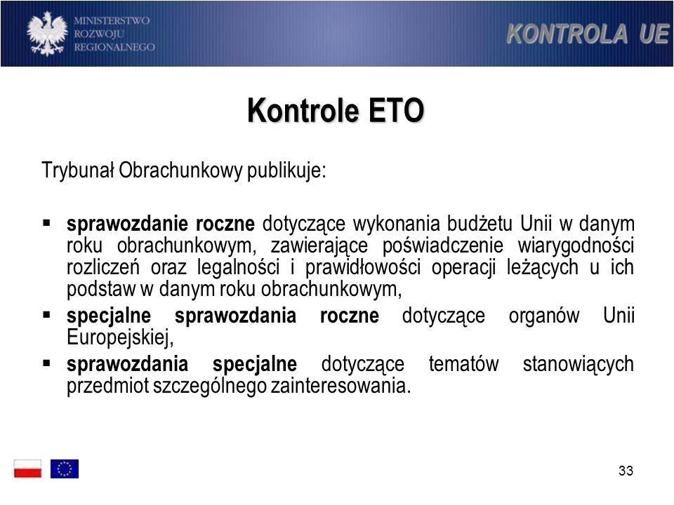 Kontrole ETO KONTROLA UE Trybunał Obrachunkowy publikuje: