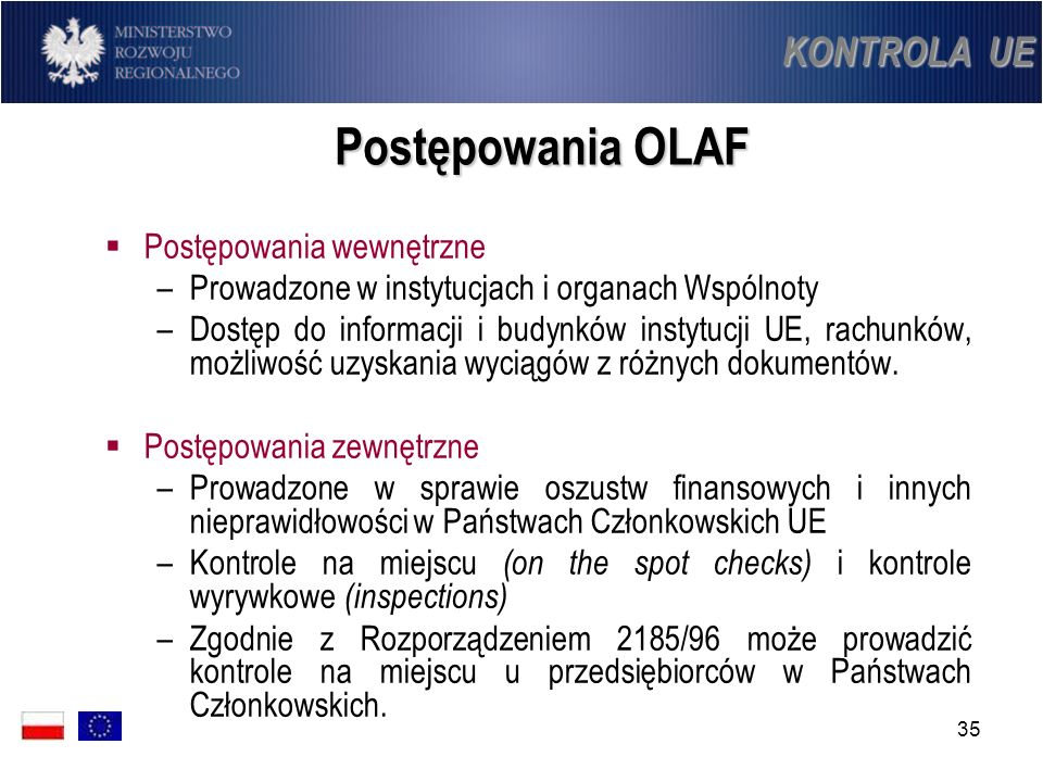 Postępowania OLAF KONTROLA UE Postępowania wewnętrzne