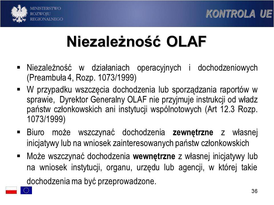 Niezależność OLAF KONTROLA UE