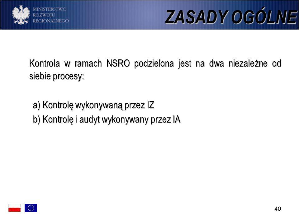 ZASADY OGÓLNE Kontrola w ramach NSRO podzielona jest na dwa niezależne od siebie procesy: a) Kontrolę wykonywaną przez IZ.