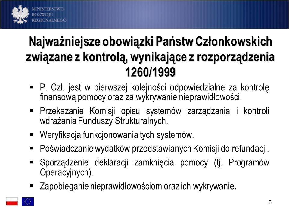 Najważniejsze obowiązki Państw Członkowskich związane z kontrolą, wynikające z rozporządzenia 1260/1999