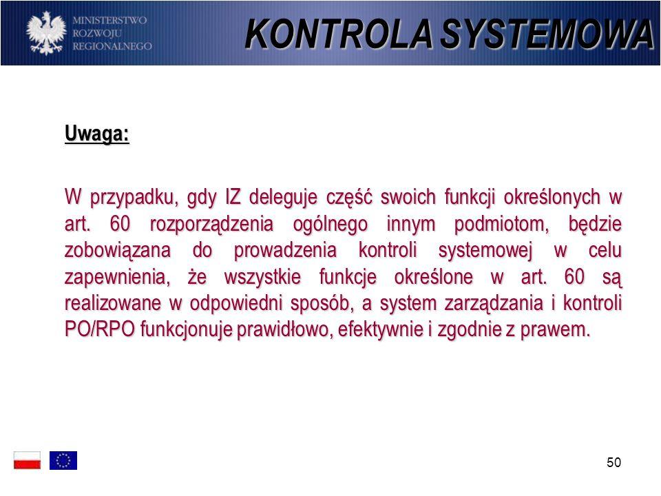 KONTROLA SYSTEMOWA Uwaga: