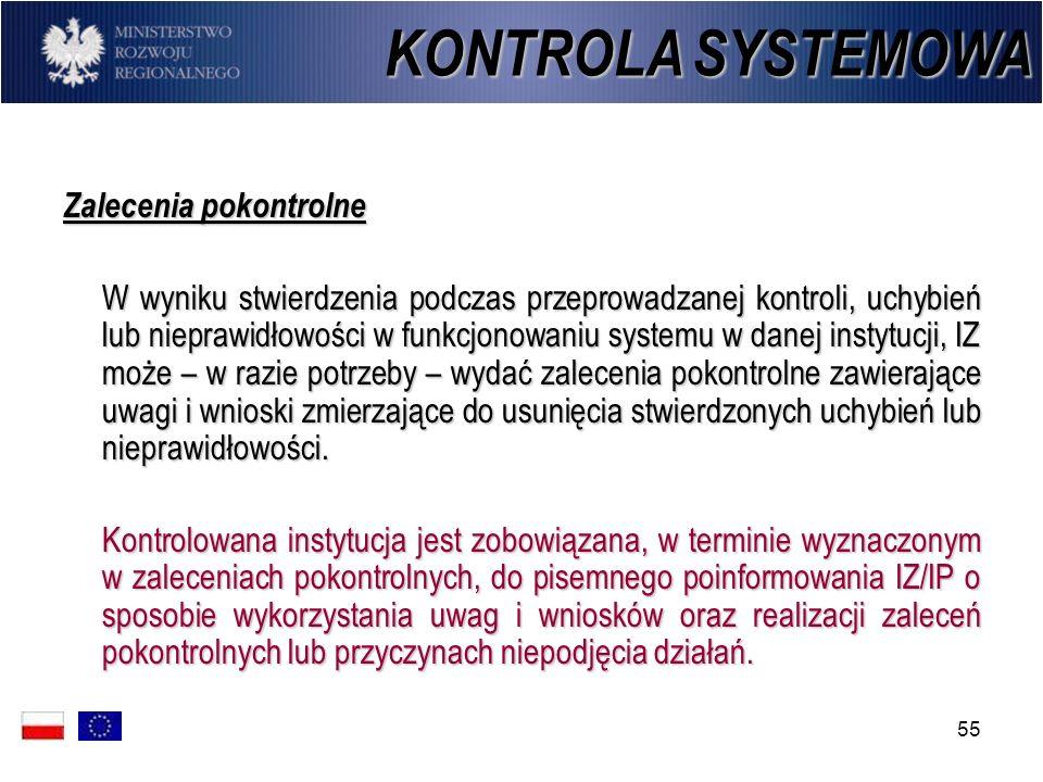 KONTROLA SYSTEMOWA Zalecenia pokontrolne