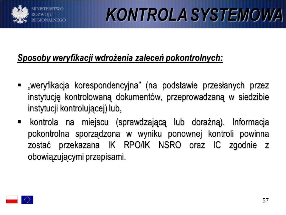 KONTROLA SYSTEMOWA Sposoby weryfikacji wdrożenia zaleceń pokontrolnych: