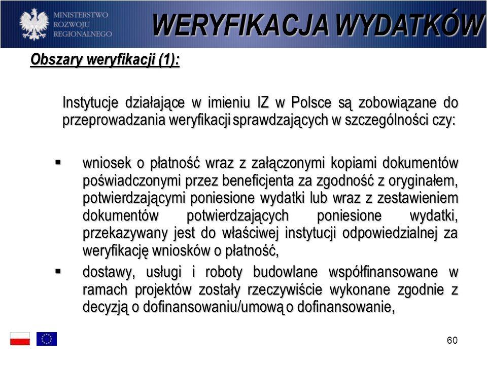 WERYFIKACJA WYDATKÓW Obszary weryfikacji (1):