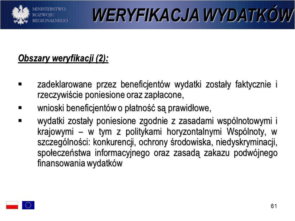 WERYFIKACJA WYDATKÓW Obszary weryfikacji (2):
