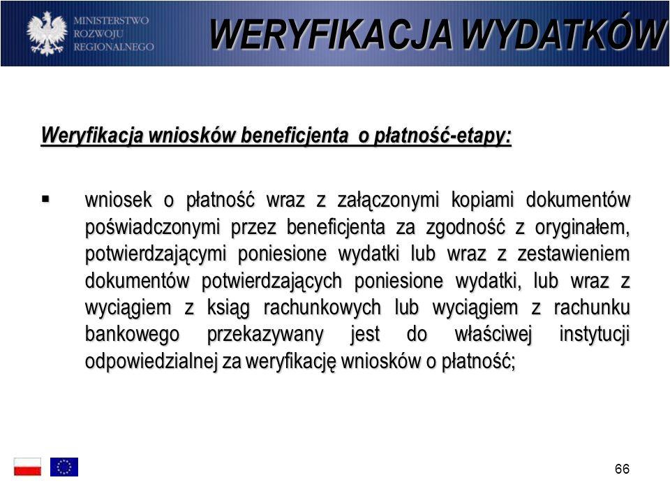 WERYFIKACJA WYDATKÓW Weryfikacja wniosków beneficjenta o płatność-etapy: