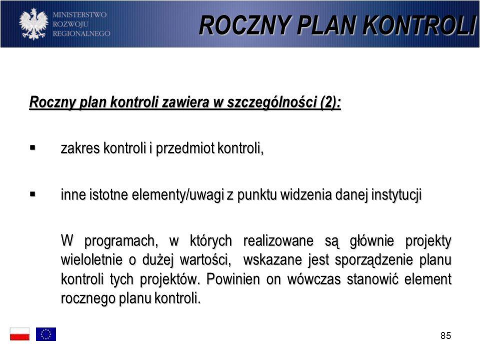 ROCZNY PLAN KONTROLI Roczny plan kontroli zawiera w szczególności (2):