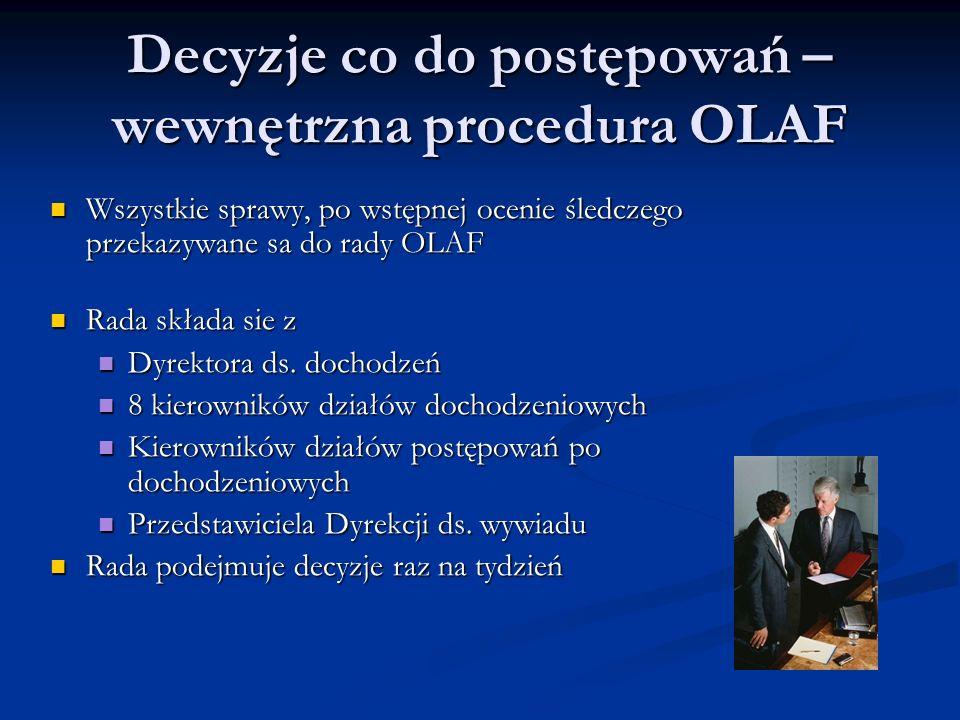 Decyzje co do postępowań – wewnętrzna procedura OLAF