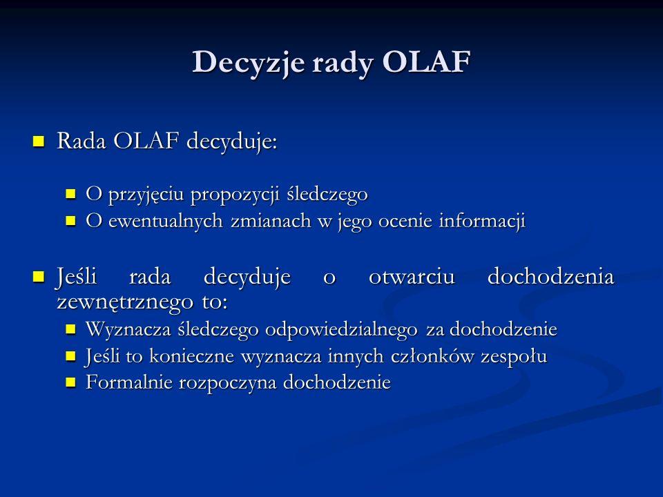 Decyzje rady OLAF Rada OLAF decyduje: