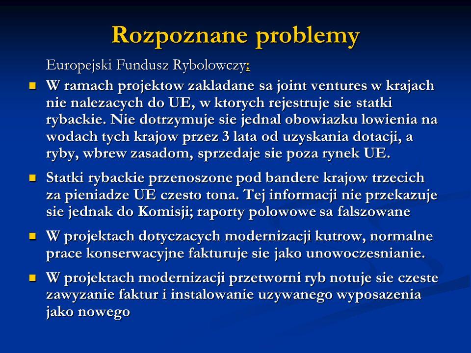 Rozpoznane problemy Europejski Fundusz Rybolowczy:
