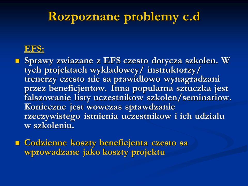 Rozpoznane problemy c.d