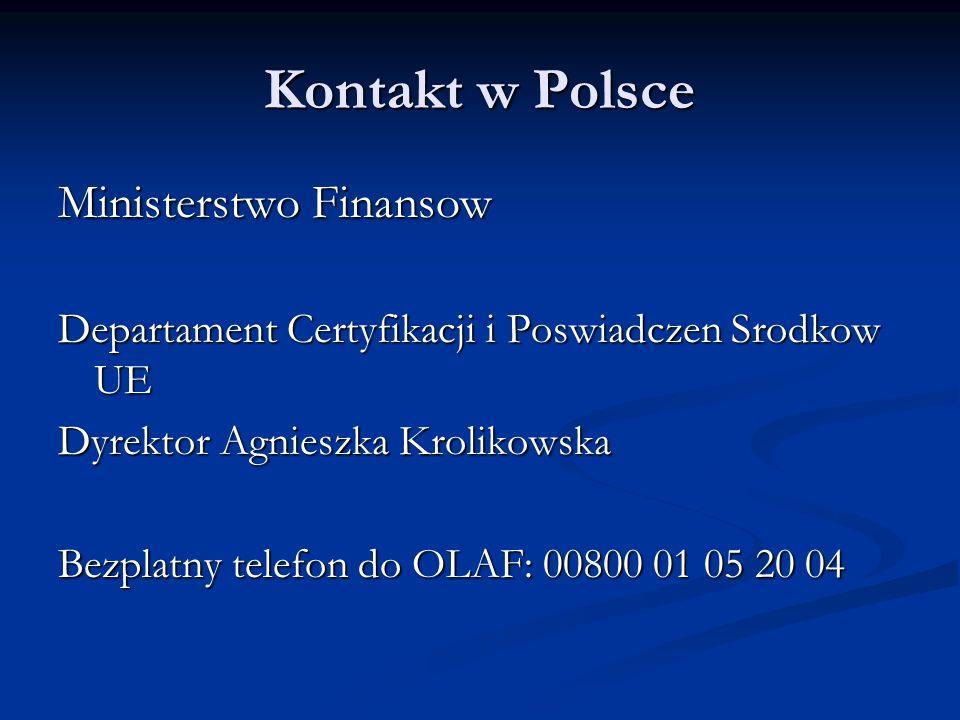 Kontakt w Polsce Ministerstwo Finansow