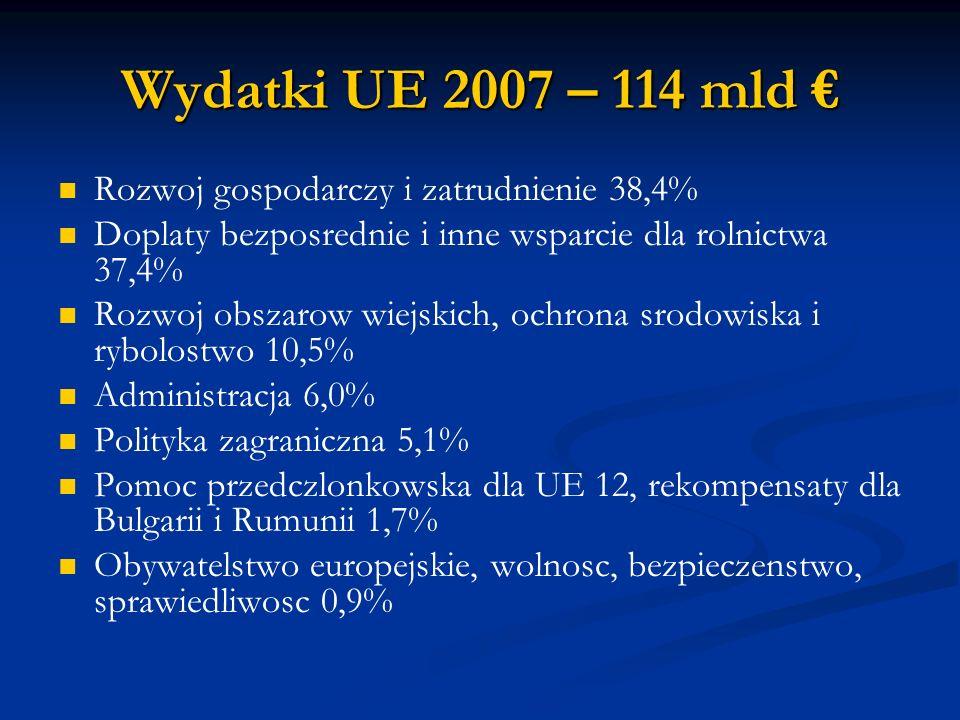Wydatki UE 2007 – 114 mld € Rozwoj gospodarczy i zatrudnienie 38,4%