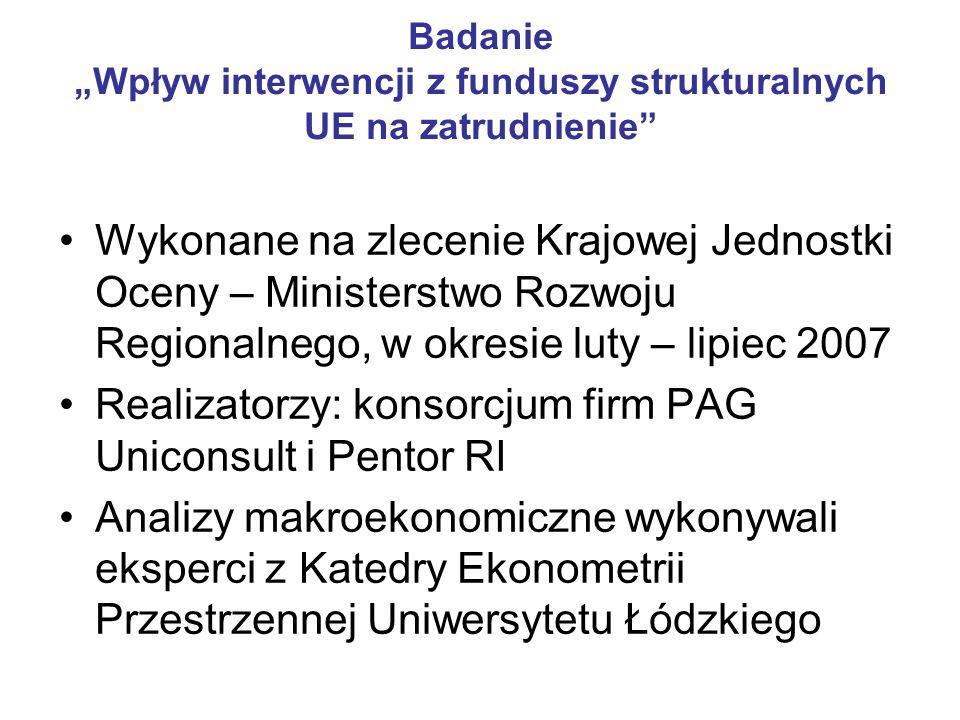 Realizatorzy: konsorcjum firm PAG Uniconsult i Pentor RI