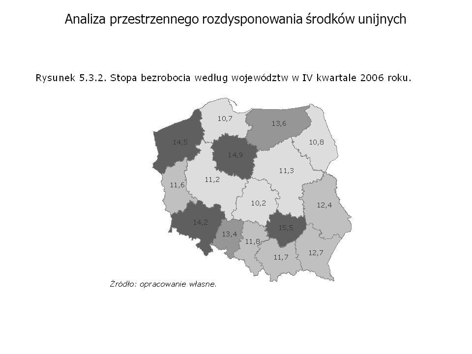 Analiza przestrzennego rozdysponowania środków unijnych