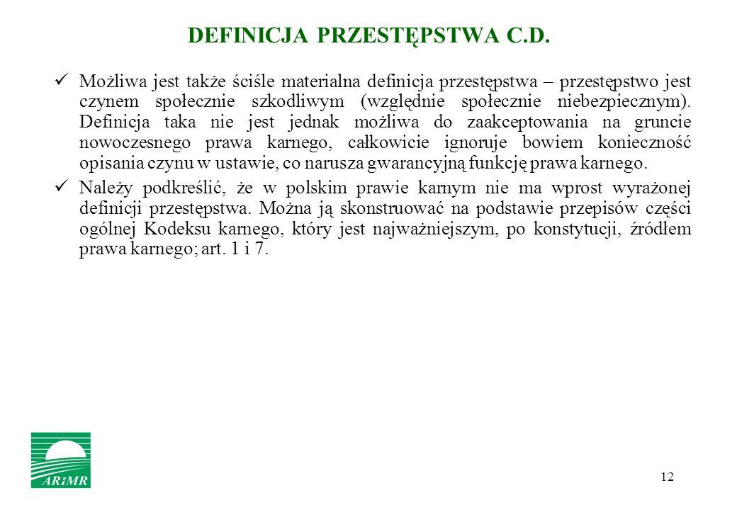 DEFINICJA PRZESTĘPSTWA C.D.